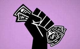 Black power fist holding money