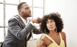 This is a photo of  Anthony Anderson and Tracee Ellis Ross.