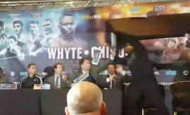 A boxing press conference in England goes completely haywire.