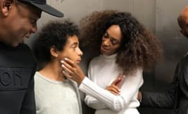 This is a photo of Jay Z and Solange.