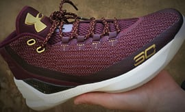 Burgundy & Gold Under Armour Curry 3