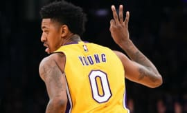Nick Young celebrates a three-pointer.