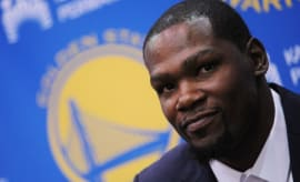 Kevin Durant is introduced by the Warriors.