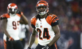 Adam Jones reacts to a call on the field for the Bengals.