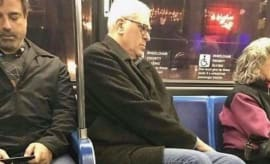 Phil Jackson on a public bus.