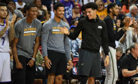 Lonzo Ball laughs with his Lakers teammates during the NBA Summer League.