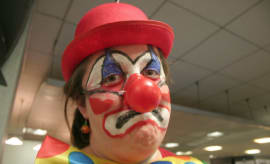 This clown is sad because everyone hates clowns.