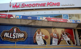 NBA All-Star banner outside of the Smoothie King Center.