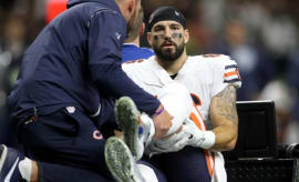 Zach Miller carted off the field after sustaining a knee injury.