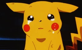This is Pikachu, a Pokémon, crying.