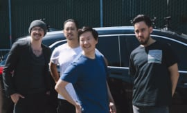 Linkin Park poses for photo during filming of 'Carpool Karaoke.'