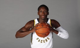 Victor Oladipo poses for a photo on Media Day.
