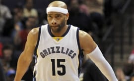 Vince Carter reacts to hitting a 3-pointer.