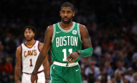 Kyrie Irving during his first regular season game with the Celtics.