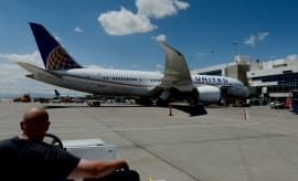 United plane prepares for takeoff.