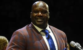 Shaquille O'Neal speaks at a function.