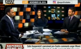 ESPN's 'First Take' discusses Colin Kaepernick and Fidel Castro.