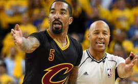 J.R. Smith argues his case to a ref.