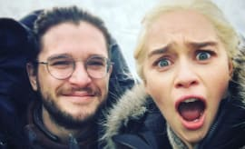 Kit Harrington and Emilia Clarke on Game of Thrones.