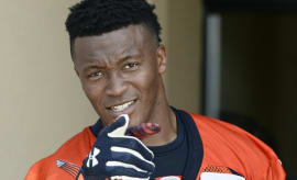 Demaryius Thomas points at a cameraman during a training camp practice.