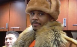 Carmelo Anthony in fur.