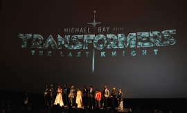 Cast and Crew speak onstate at the US premiere of 'Transformers: The Last Knight'