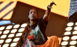 ASAP Rocky performs at a concert.