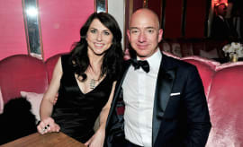 Jeff Bezos and writer MacKenzie Bezos attend the Amazon Studios Oscar Celebration