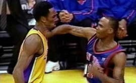Chris Childs punches Kobe Bryant.