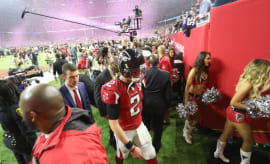Matt Ryan walks off the field after losing Super Bowl 51.