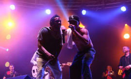 Kendrick Lamar and Chance the Rapper perform onstage