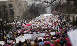 Protesters gather during the Women's March on Washington January 21, 2017