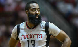 James Harden plays in a playoff game for the Rockets.