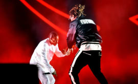 Kendrick Lamar and Future perform at Coachella.