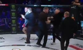 Conor McGregor (sort of) loses it at a ref during a post-fight celebration.