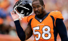Von Miller on the field for the Broncos.