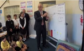 Malcolm Turnbull pays students from Bondi Public School a Visit