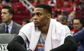 Russell Westbrook bench Rockets Thunder Game 2 2017