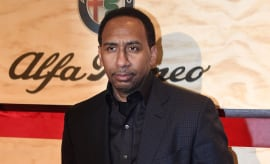 Stephen A. Smith poses for photo at ESPN the Party event.