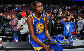 Kevin Durant does a post-game interview.