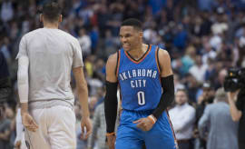 Russell Westbrook celebrates a win over the Mavericks.