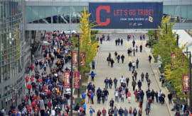 Indians fans walk to Game 1 of the World Series.