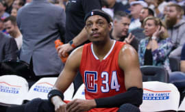 Paul Pierce sits on the bench during a Clippers game.