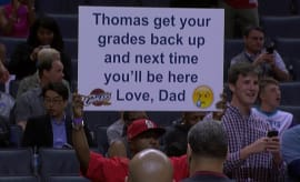 Thomas got called out by his father with a sign at a Cavs game.