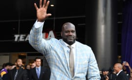 Shaq greets people outside the Staples Center.