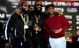 Adrien Broner, Rick Ross, and Floyd Mayweather.