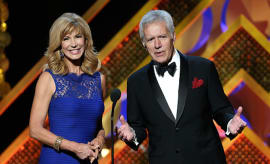TV personalities Leeza Gibbons (L) and Alex Trebek