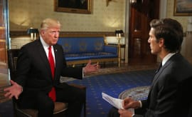 Donald Trump and David Muir.