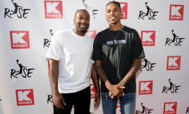 Gilbert Arenas and Nick Young attend an event in Los Angeles.