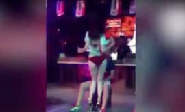 Girlfriend knocks down stripper.